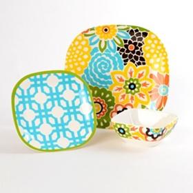 Blooms Confetti 12-pc. Melamine Dinner Set