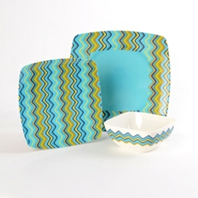 Zig Zag Turquoise 12-pc. Melamine Dinner Set