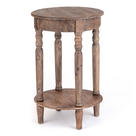 Distressed Round Wood Accent Table
