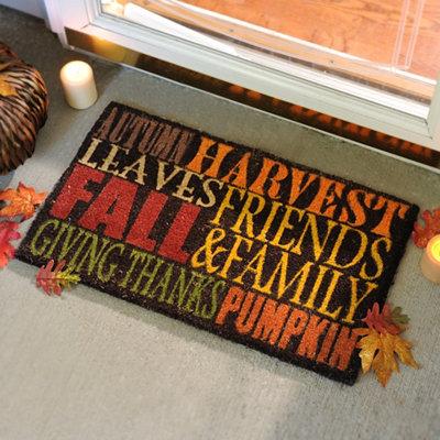 Autumn Harvest Typography Doormat