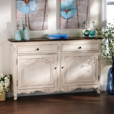 Handpainted Antique Ivory Cabinet
