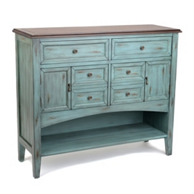 Delphine Distressed Blue Cabinet