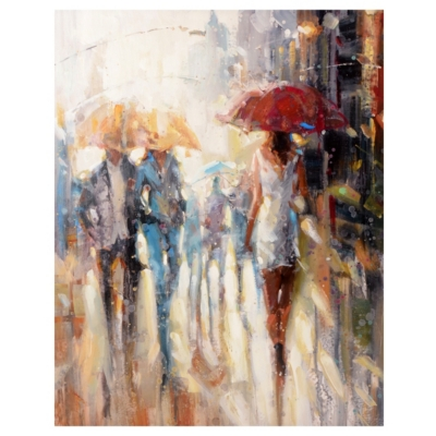 Rain On The Avenue Canvas Art Print