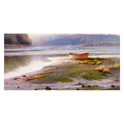 Boat On The Shore Canvas Art Print