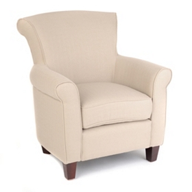 Cream Linen Upholstered Club Chair