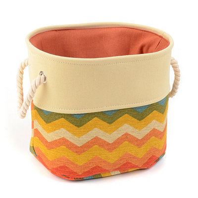 Chevron Spice Storage Bin with Rope Handles, Small