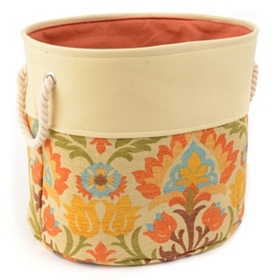 Floral Spice Storage Bin with Rope Handles, Large