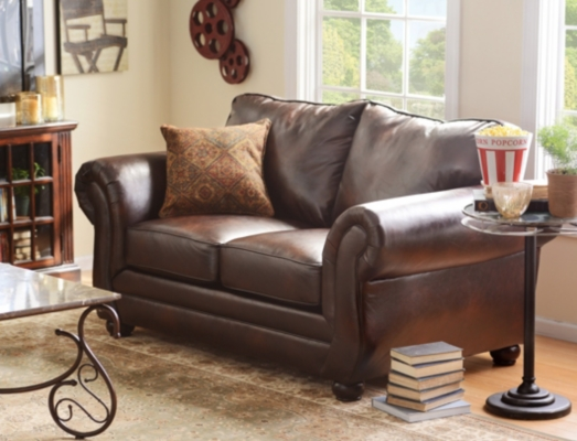 Gracia Chocolate Bonded Leather Loveseat