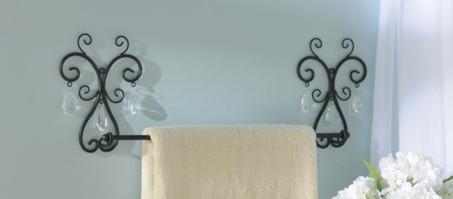Crystal Scrolled Towel Bar