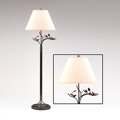 Bird & Leaf Bronze Floor Lamp