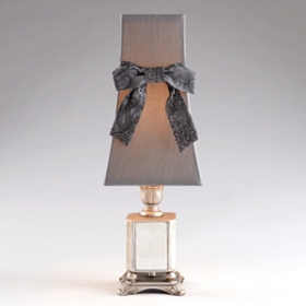 Vintage Silver Table Lamp with Bow