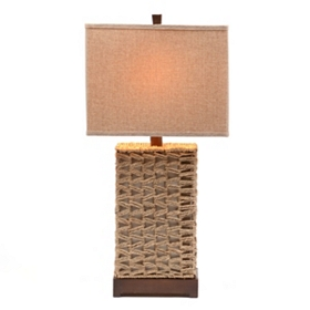Brown Wicker Table Lamp
