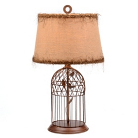 Bronze Bird Cage Table Lamp