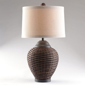 Brown Rattan Table Lamp