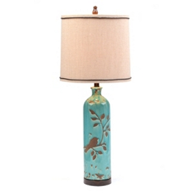 Turquoise Bird & Branch Table Lamp