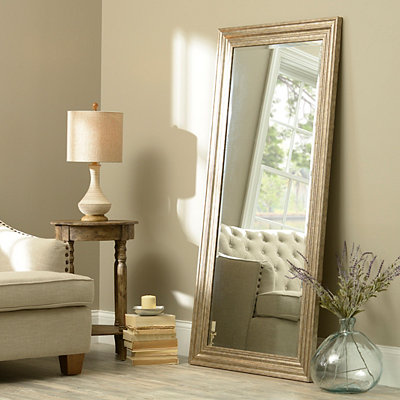 Antiqued Silver Framed Mirror, 32x65 in.