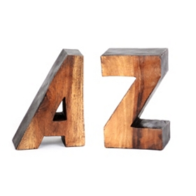 A to Z Wood Bookend, Set of 2