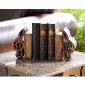 Music Notes Wood Bookend, Set of 2