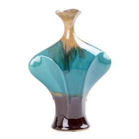 Turquoise Multi-Drip Ceramic Vase