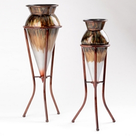Bronze Ombre Metal Floor Vase, Set of 2