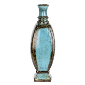 Turquoise Distressed Ceramic Floor Vase