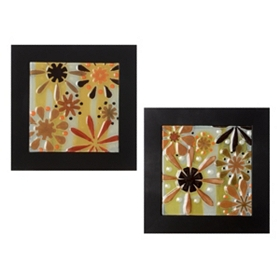 Deco Flowers Wall Plaque, Set of 2