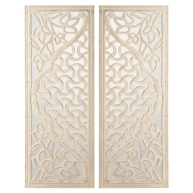 Mirrored Wood Wall Plaque, Set of 2