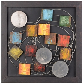 Abstract Squares & Circles Metal Wall Plaque