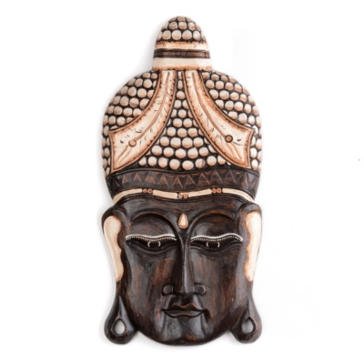 Buddha Head Wood Wall Plaque