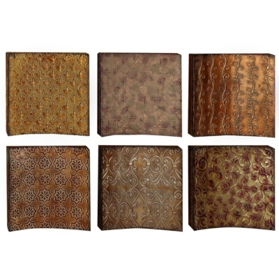 Metal Tones Wall Plaque, Set of 6