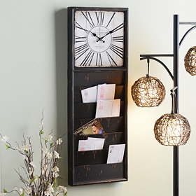 Antique Black Mail Organizer Wall Clock