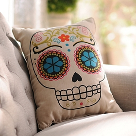 Reversible Skulls Pillow