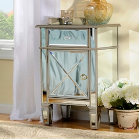 Silver Mirrored Nightstand