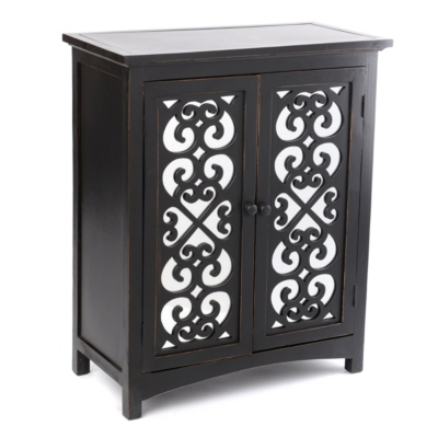 Black Mirrored Door Wood Cabinet
