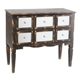Rustic Black Mirrored 6-Drawer Chest