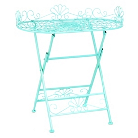 Turquoise Metal Folding Patio Table