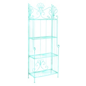 Turquoise Metal Outdoor Baker's Rack