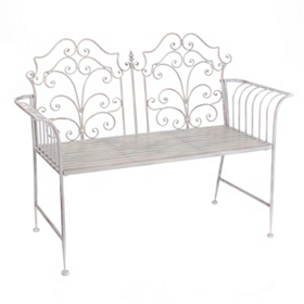 Gray Scroll Garden Bench
