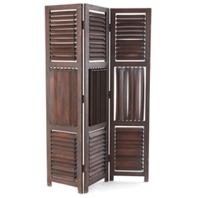 Dark Brown Wood 3-Panel Screen