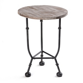 Distressed Round Wood & Metal Accent Table