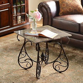 Faux Marble Accent Table