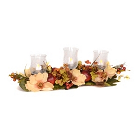 Magnolia 3-Candle Centerpiece with Fruit