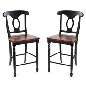 British Isle Black Counter Stool, Set of 2