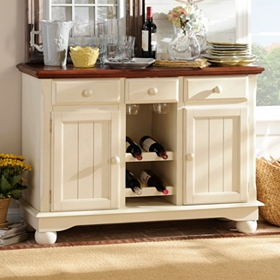 British Isle Ivory Wood Cabinet