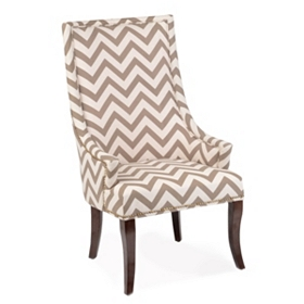 Taupe & Ivory Chevron Accent Chair