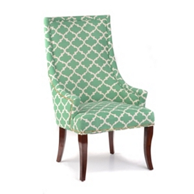 Green Quatrefoil Accent Chair