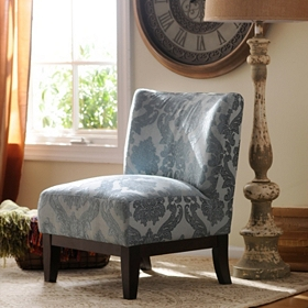 Blue Damask Slipper Chair