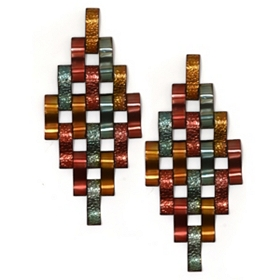 Metallic Diamond Metal Wall Art, Set of 2