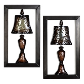 Metal Lamps Wall Plaque, Set of 2