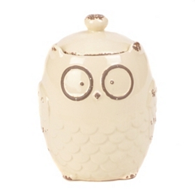 Ivory Owl Cookie Jar